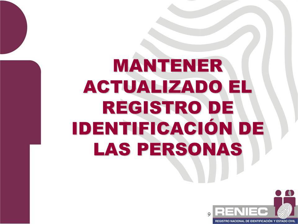 MANTENER ACTUALIZADO EL REGISTRO DE IDENTIFICACIÓN DE LAS PERSONAS