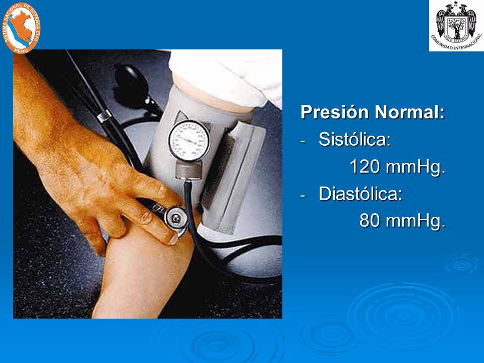 Presión Normal: Sistólica: 120 mmHg. Diastólica: 80 mmHg.