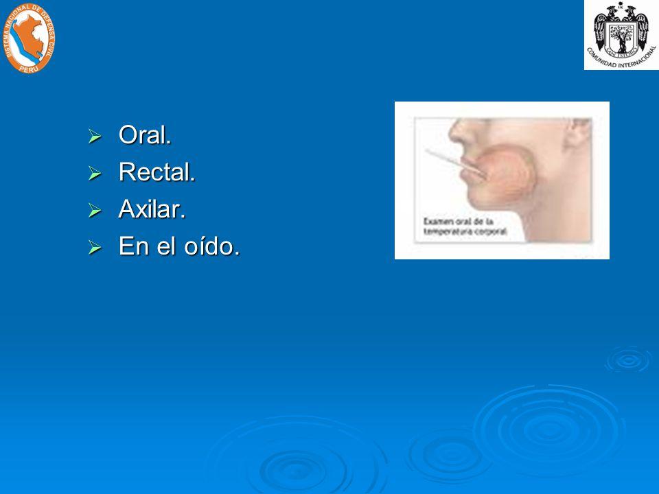 Oral. Rectal. Axilar. En el oído.