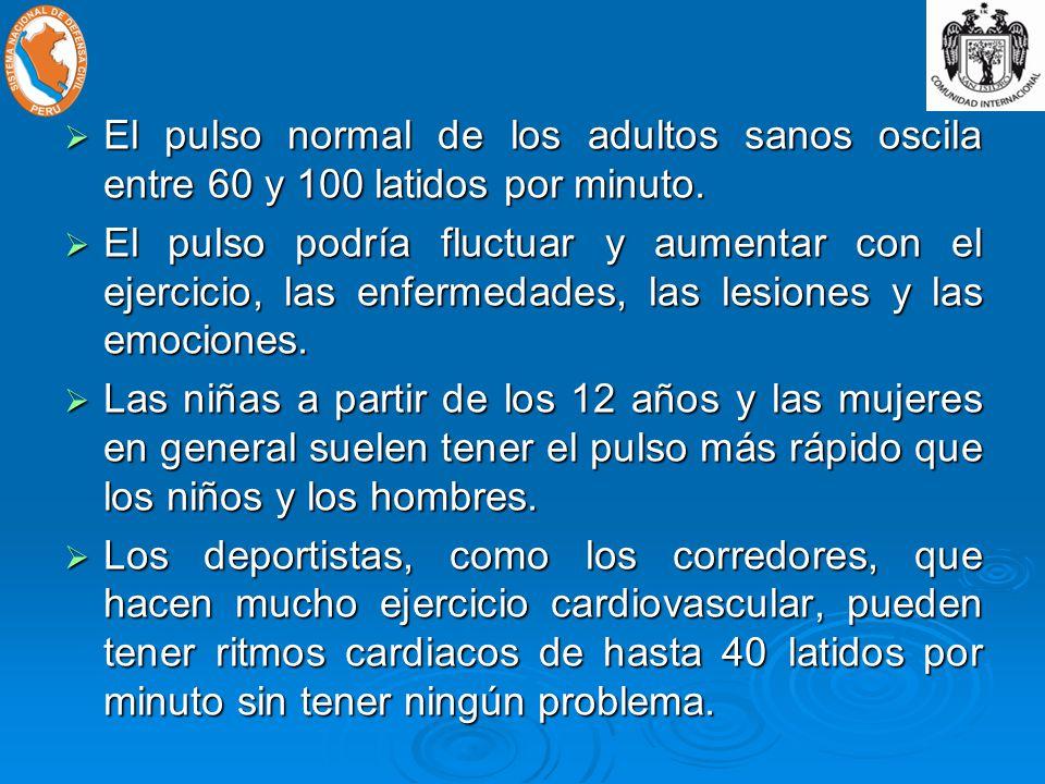 El pulso normal de los adultos sanos oscila entre 60 y 100 latidos por minuto.