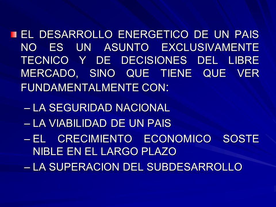 EL DESARROLLO ENERGETICO DE UN PAIS NO ES UN ASUNTO EXCLUSIVAMENTE TECNICO Y DE DECISIONES DEL LIBRE MERCADO, SINO QUE TIENE QUE VER FUNDAMENTALMENTE CON: