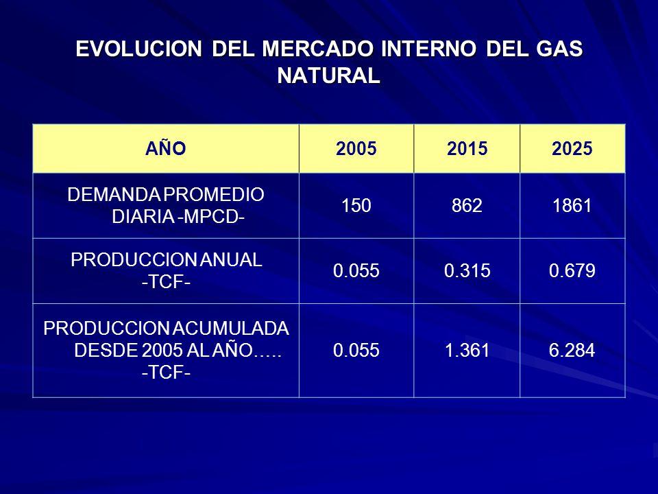 EVOLUCION DEL MERCADO INTERNO DEL GAS NATURAL