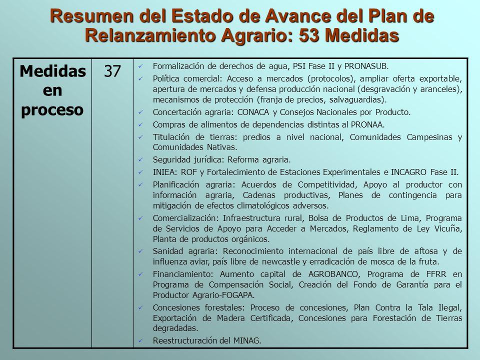 Resumen del Estado de Avance del Plan de Relanzamiento Agrario: 53 Medidas