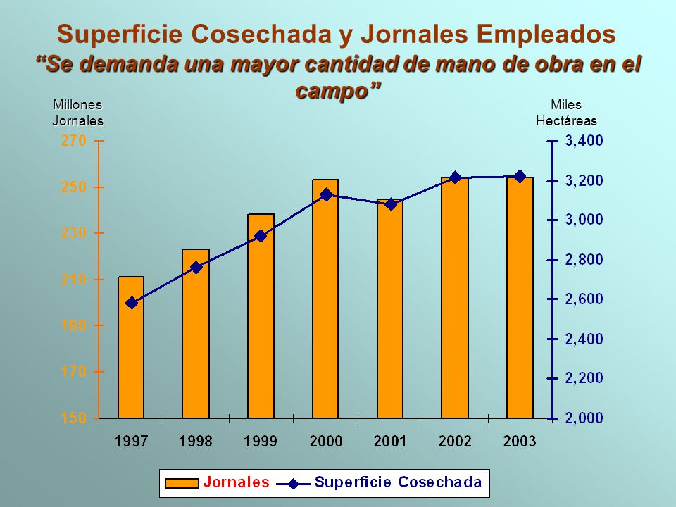Superficie Cosechada y Jornales Empleados