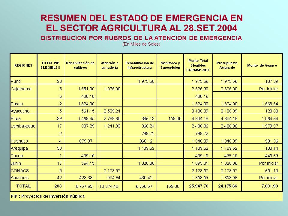RESUMEN DEL ESTADO DE EMERGENCIA EN