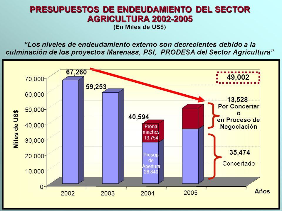 PRESUPUESTOS DE ENDEUDAMIENTO DEL SECTOR AGRICULTURA 2002-2005