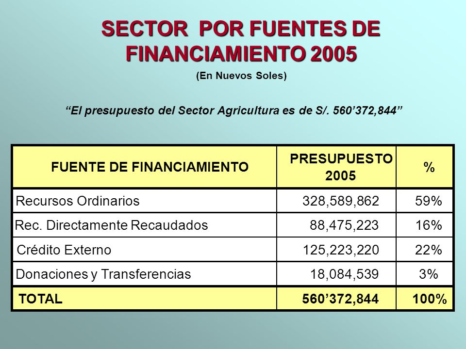 SECTOR POR FUENTES DE FINANCIAMIENTO 2005