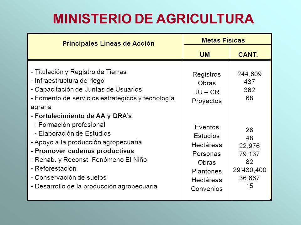 MINISTERIO DE AGRICULTURA Principales Líneas de Acción