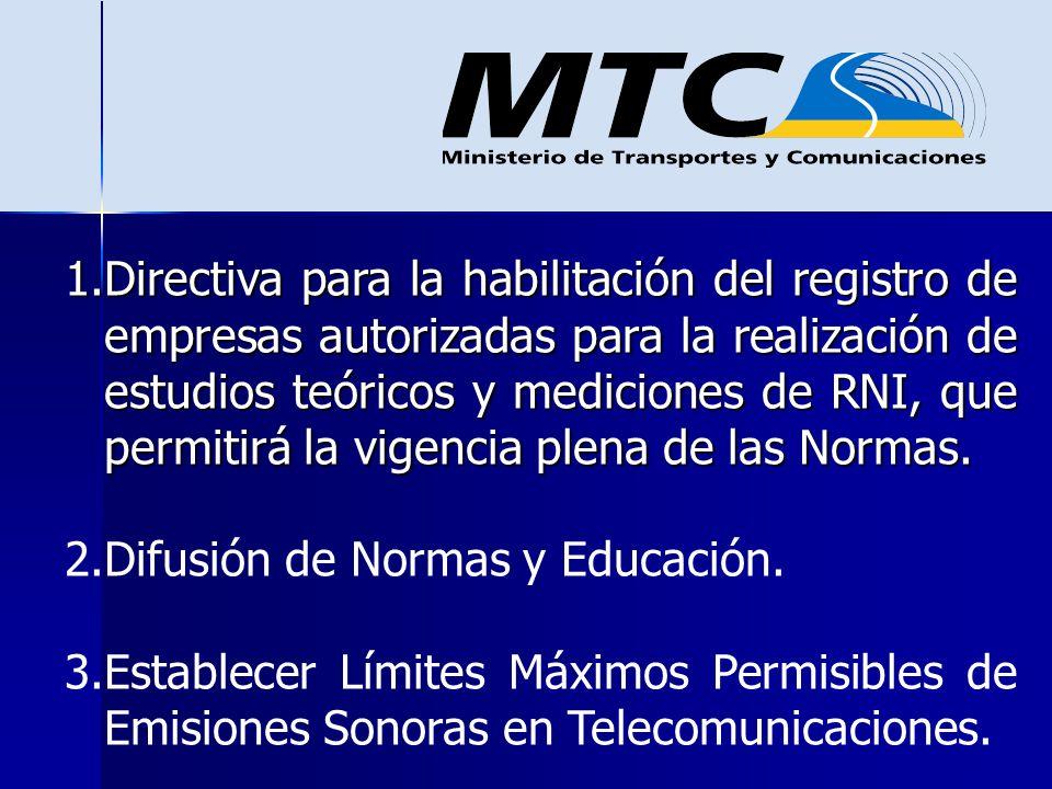 Directiva para la habilitación del registro de empresas autorizadas para la realización de estudios teóricos y mediciones de RNI, que permitirá la vigencia plena de las Normas.