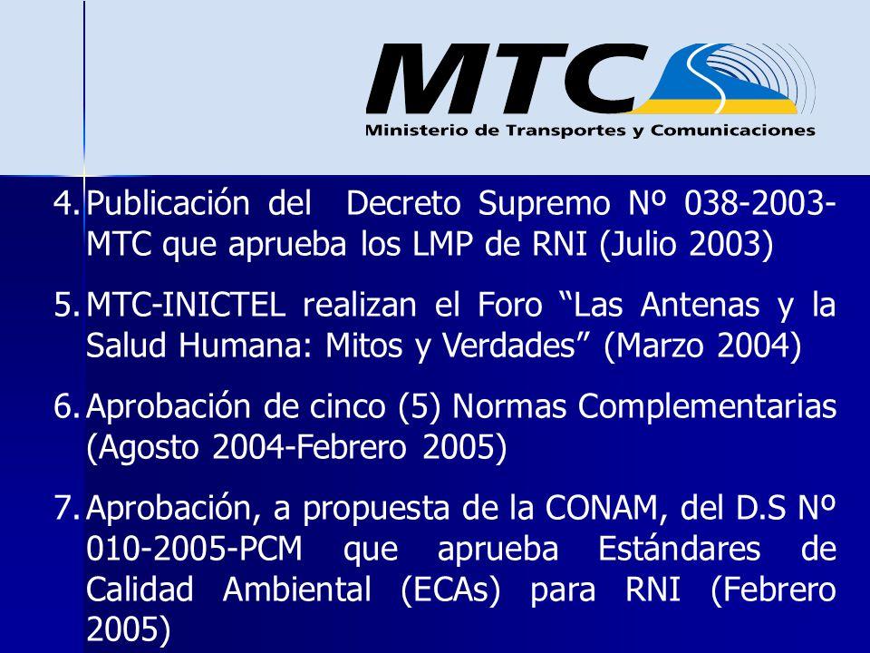 Publicación del Decreto Supremo Nº 038-2003-MTC que aprueba los LMP de RNI (Julio 2003)