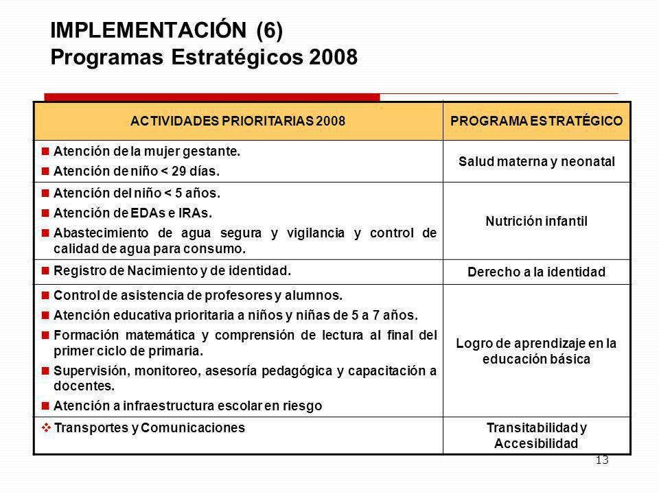 IMPLEMENTACIÓN (6) Programas Estratégicos 2008