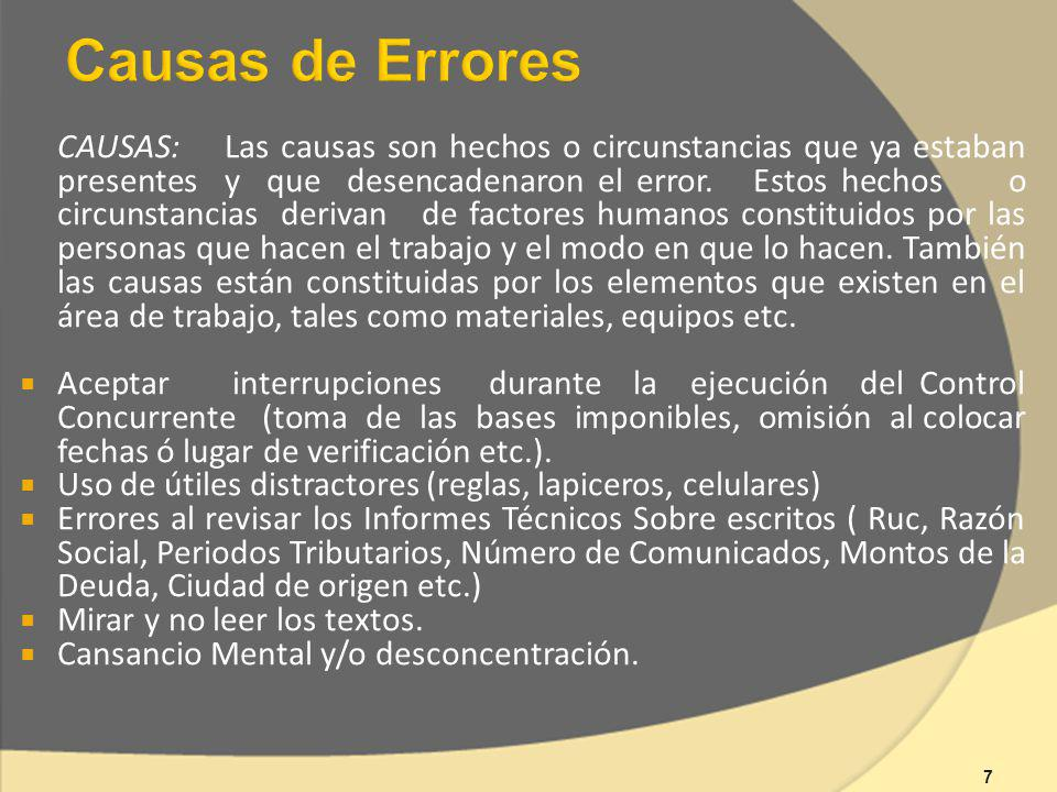 Causas de Errores