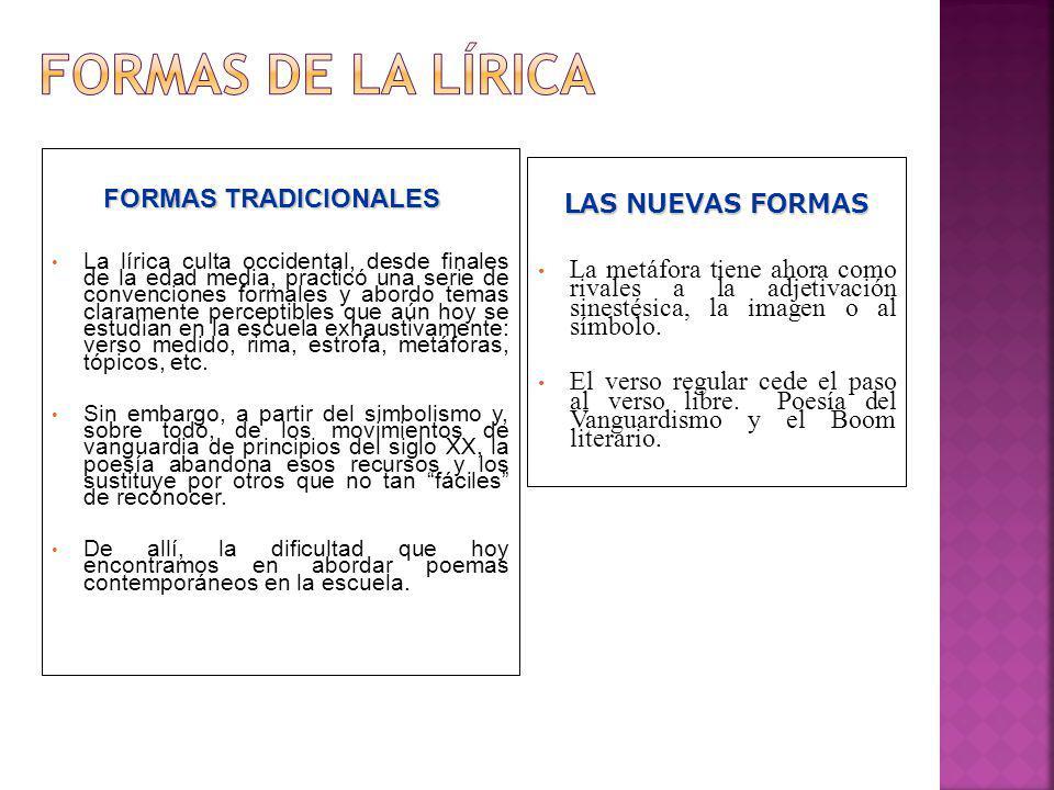 FORMAS DE LA LÍRICA FORMAS TRADICIONALES LAS NUEVAS FORMAS