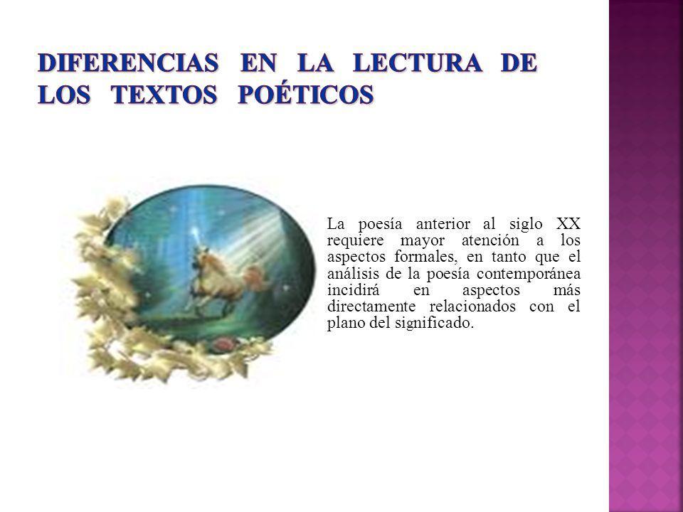 DIFERENCIAS EN LA LECTURA DE LOS TEXTOS POÉTICOS