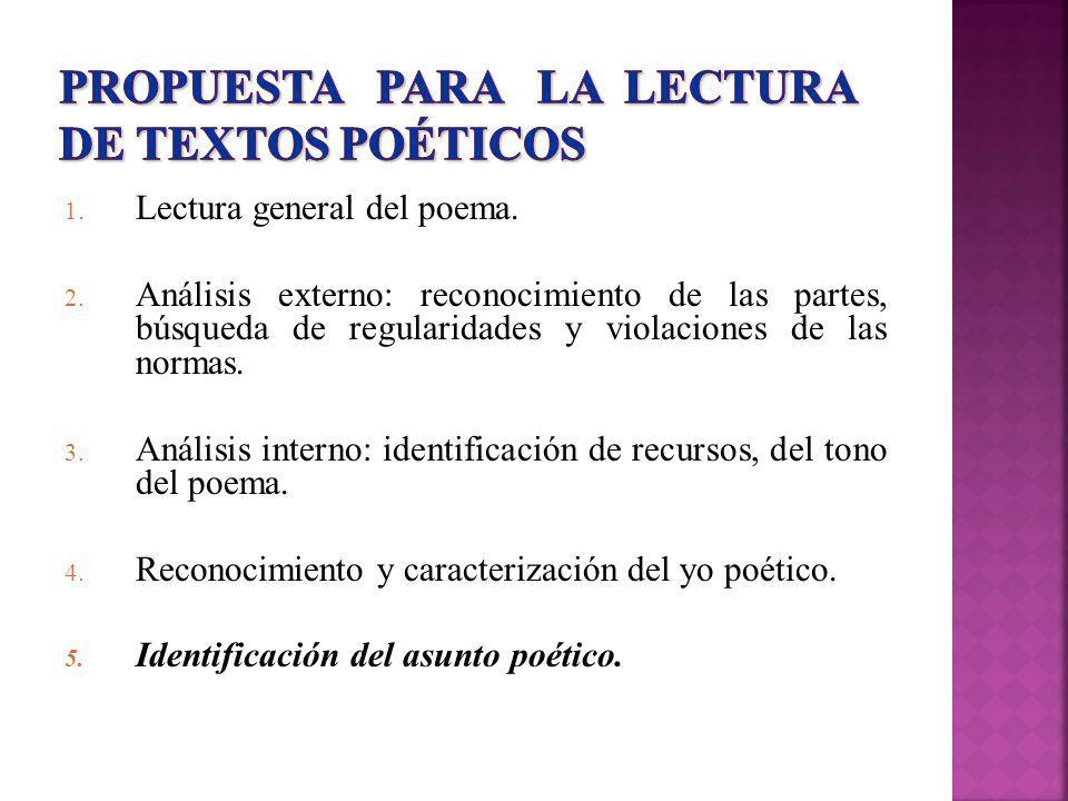 PROPUESTA PARA LA LECTURA DE TEXTOS POÉTICOS