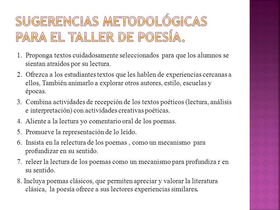 Sugerencias metodológicas para el taller de poesía.