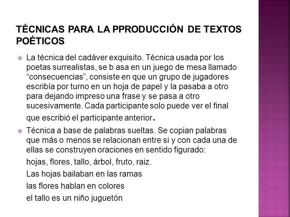 TÉCNICAS PARA LA PPRODUCCIÓN DE TEXTOS POÉTICOS