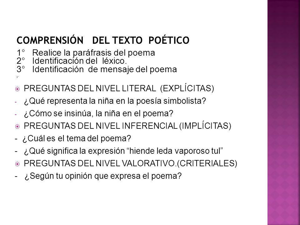 COMPRENSIÓN DEL TEXTO POÉTICO