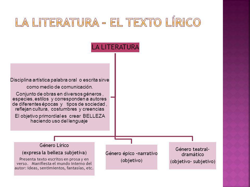 LA LITERATURA – EL TEXTO LÍRICO