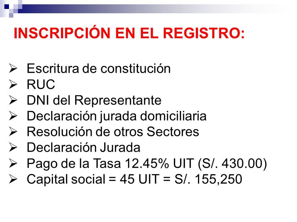INSCRIPCIÓN EN EL REGISTRO: