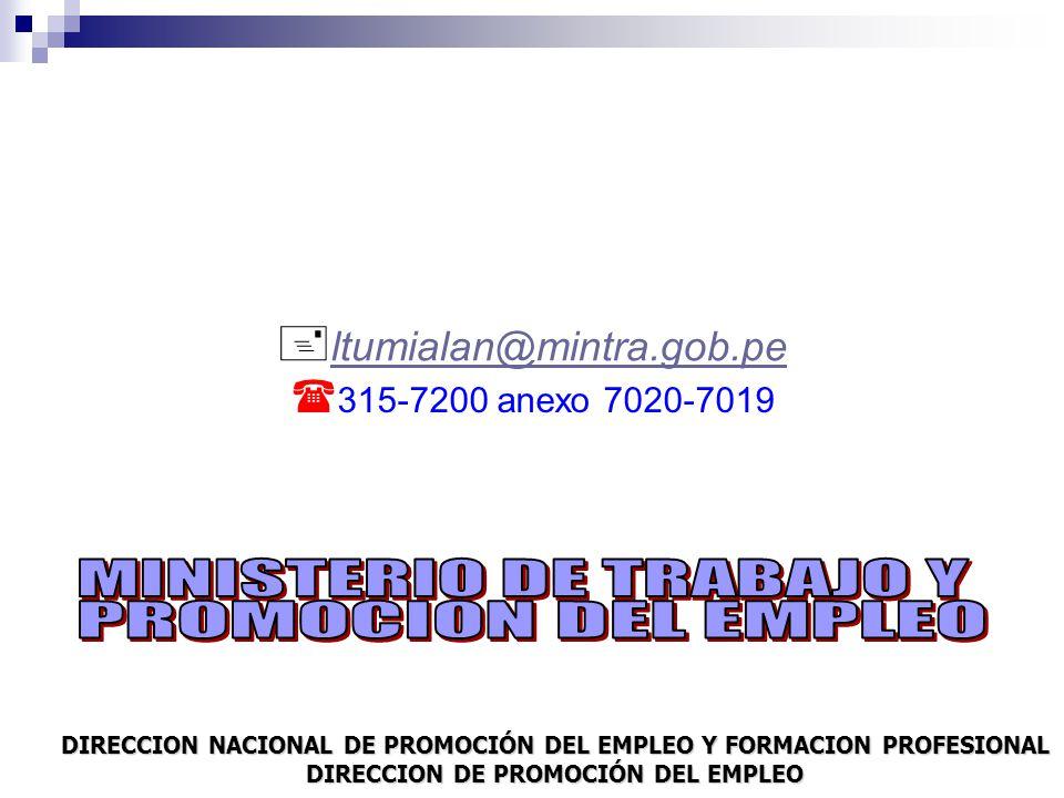 MINISTERIO DE TRABAJO Y PROMOCION DEL EMPLEO