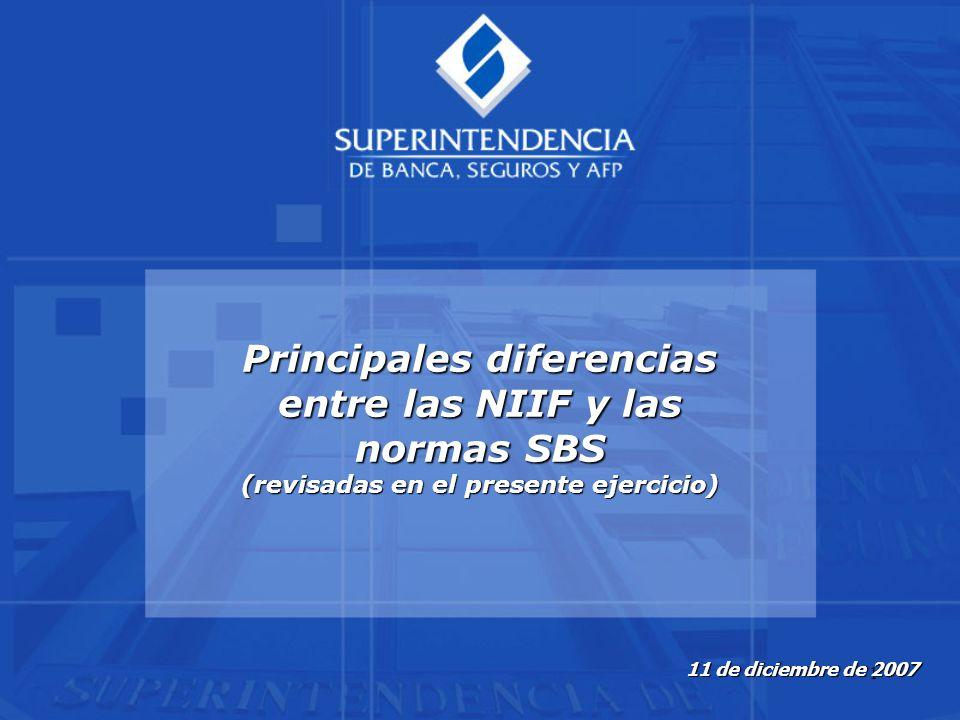 Principales diferencias entre las NIIF y las normas SBS