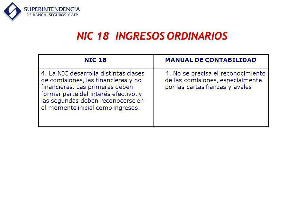NIC 18 INGRESOS ORDINARIOS MANUAL DE CONTABILIDAD