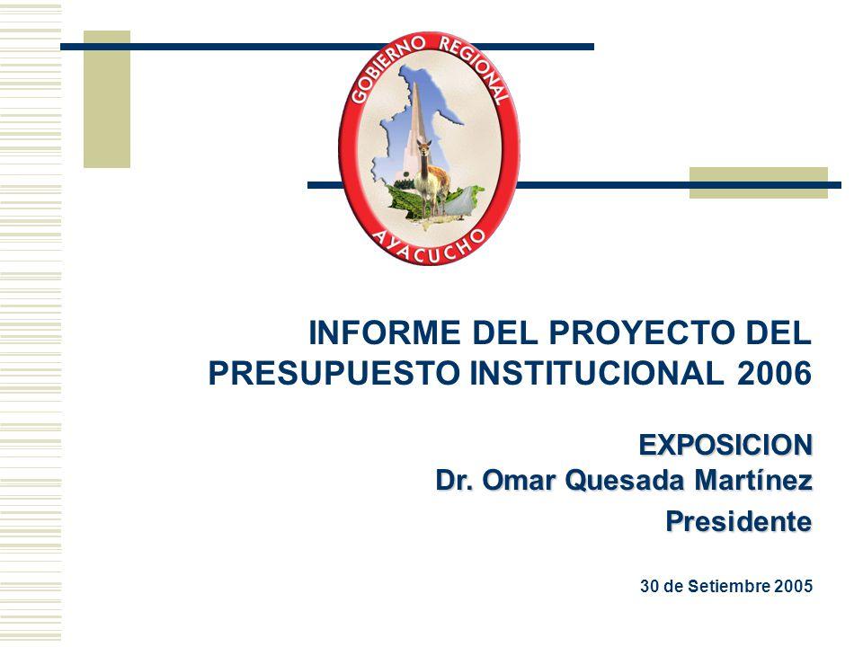 INFORME DEL PROYECTO DEL PRESUPUESTO INSTITUCIONAL 2006