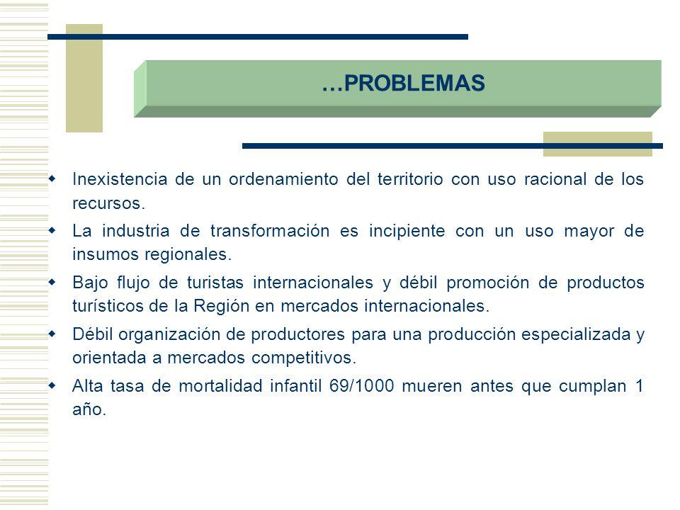 …PROBLEMAS Inexistencia de un ordenamiento del territorio con uso racional de los recursos.
