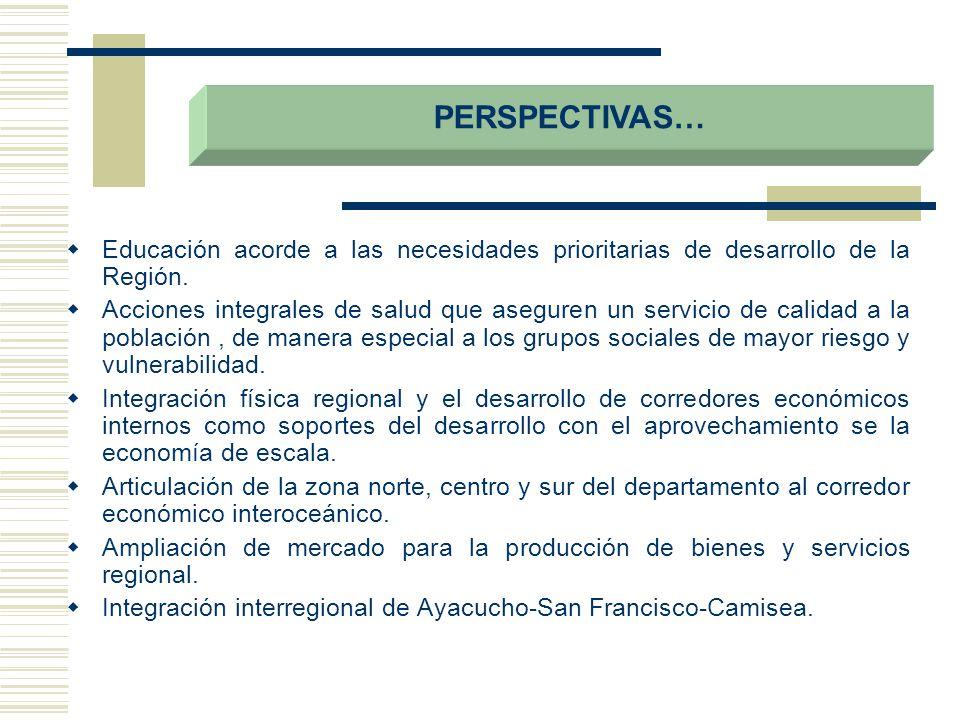 PERSPECTIVAS… Educación acorde a las necesidades prioritarias de desarrollo de la Región.