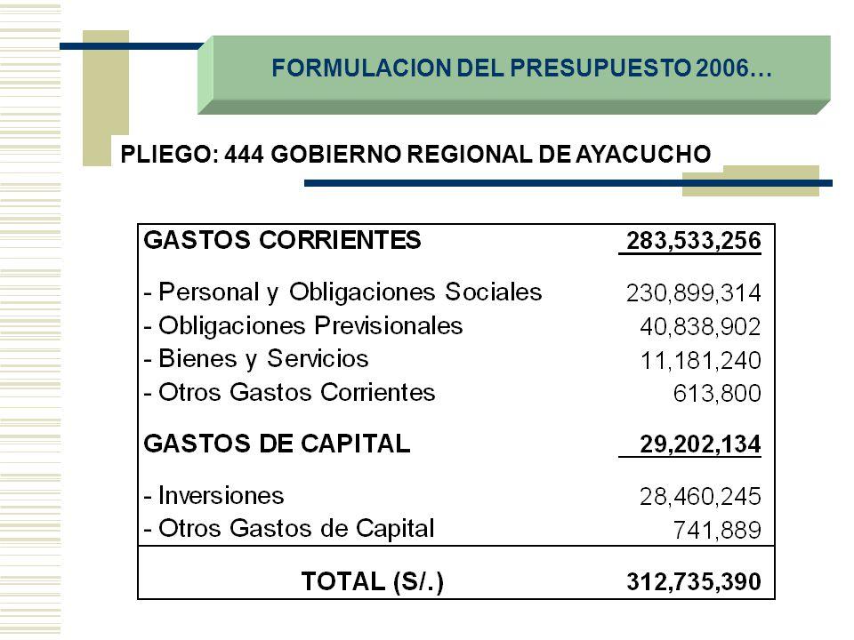 FORMULACION DEL PRESUPUESTO 2006…