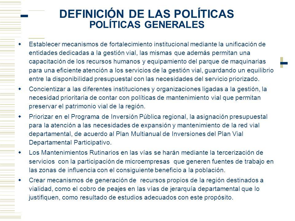 DEFINICIÓN DE LAS POLÍTICAS POLÍTICAS GENERALES