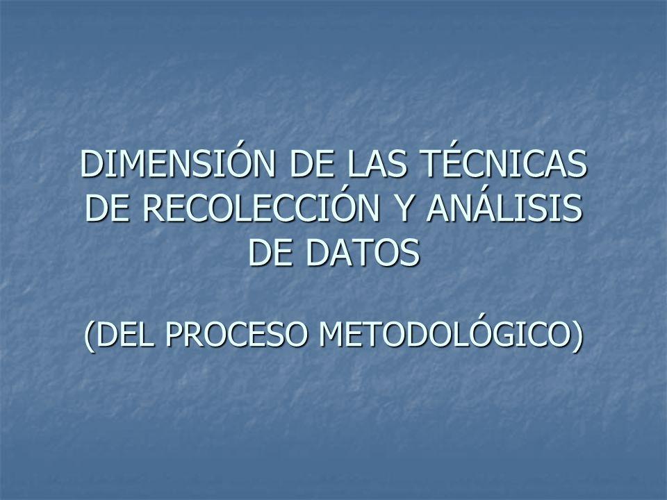 DIMENSIÓN DE LAS TÉCNICAS DE RECOLECCIÓN Y ANÁLISIS DE DATOS (DEL PROCESO METODOLÓGICO)