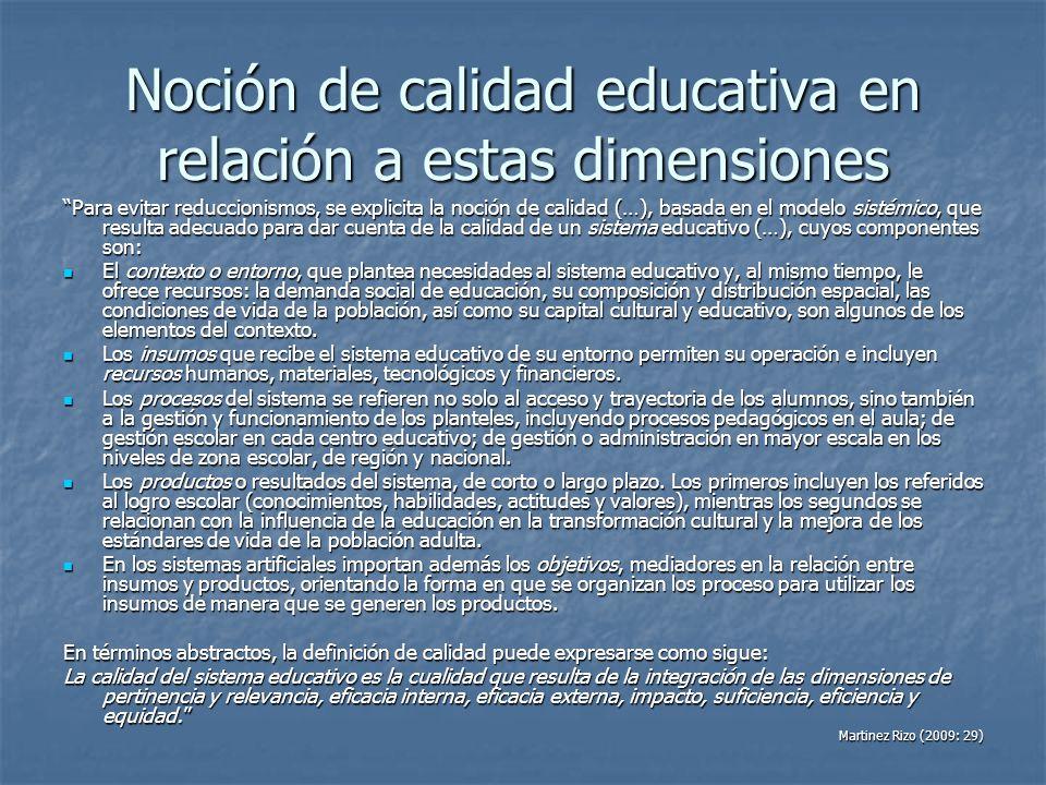 Noción de calidad educativa en relación a estas dimensiones