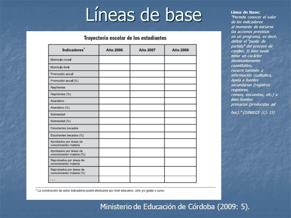 Líneas de base Ministerio de Educación de Córdoba (2009: 5).