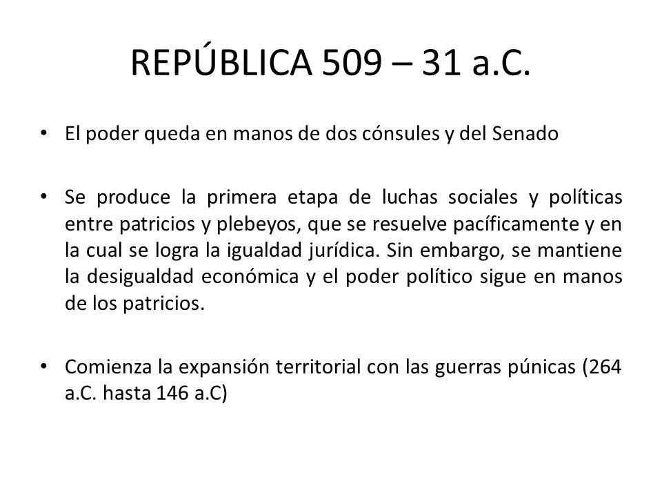 REPÚBLICA 509 – 31 a.C. El poder queda en manos de dos cónsules y del Senado.