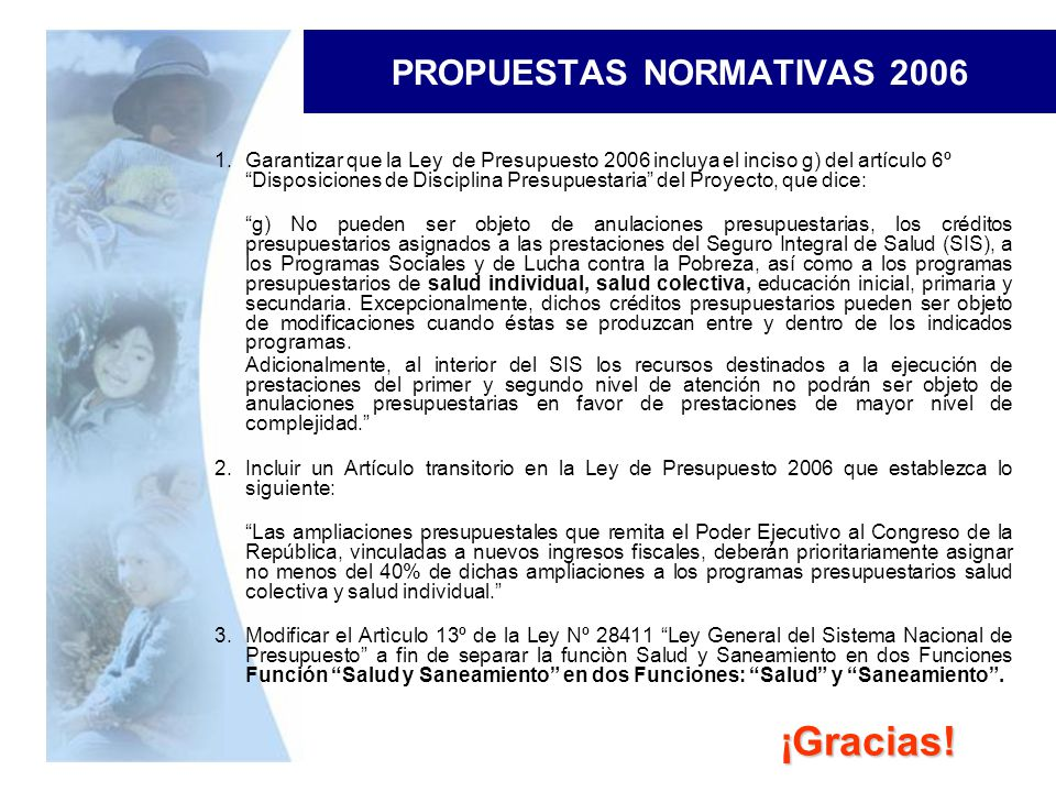 PROPUESTAS NORMATIVAS 2006