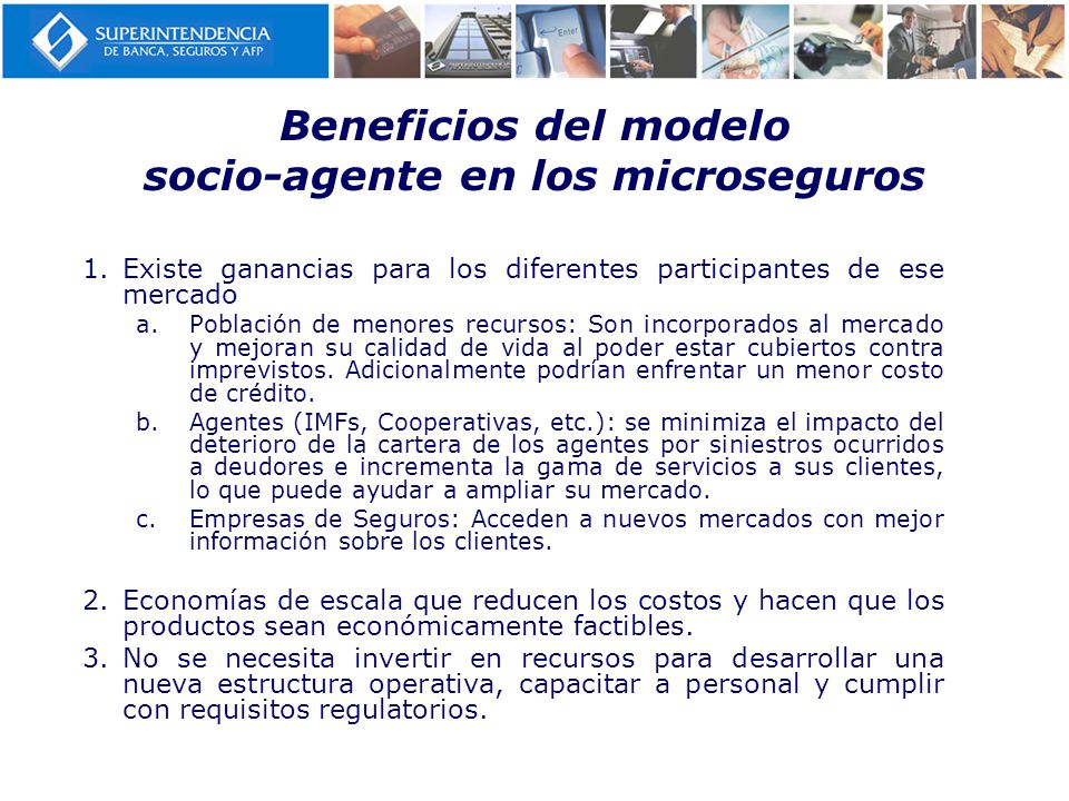 Beneficios del modelo socio-agente en los microseguros
