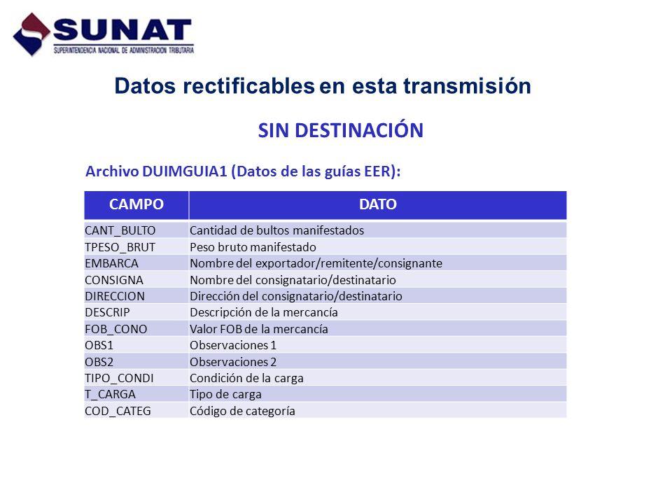 Datos rectificables en esta transmisión