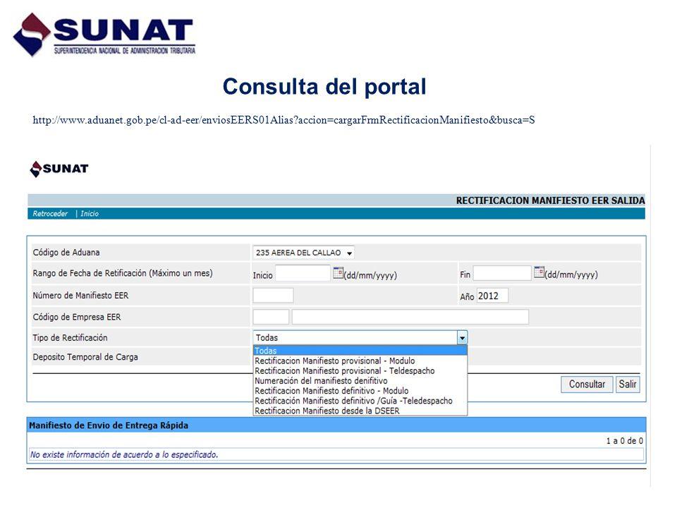 Consulta del portal http://www.aduanet.gob.pe/cl-ad-eer/enviosEERS01Alias accion=cargarFrmRectificacionManifiesto&busca=S.