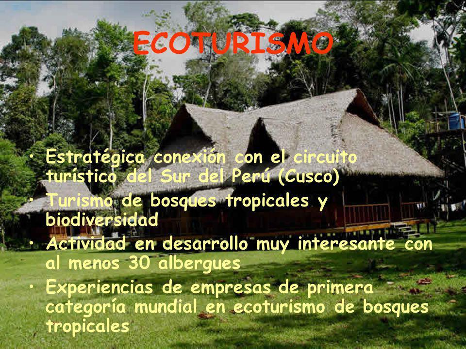 ECOTURISMO Estratégica conexión con el circuito turístico del Sur del Perú (Cusco) Turismo de bosques tropicales y biodiversidad.