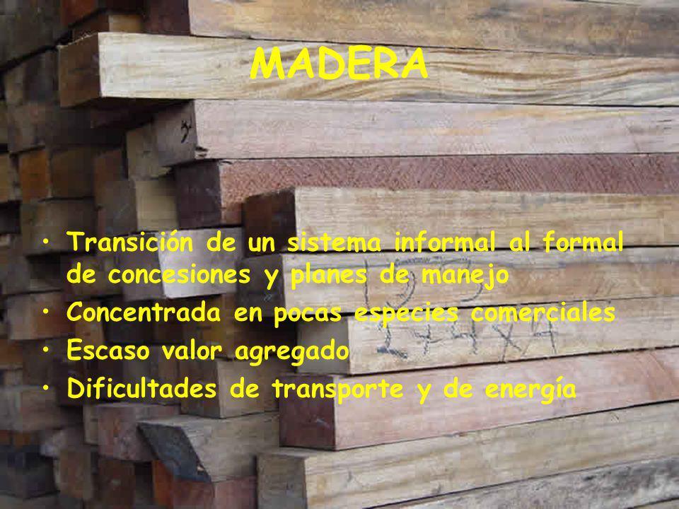 MADERA Transición de un sistema informal al formal de concesiones y planes de manejo. Concentrada en pocas especies comerciales.