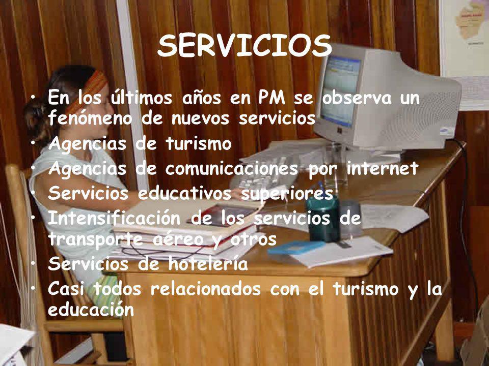 SERVICIOS En los últimos años en PM se observa un fenómeno de nuevos servicios. Agencias de turismo.