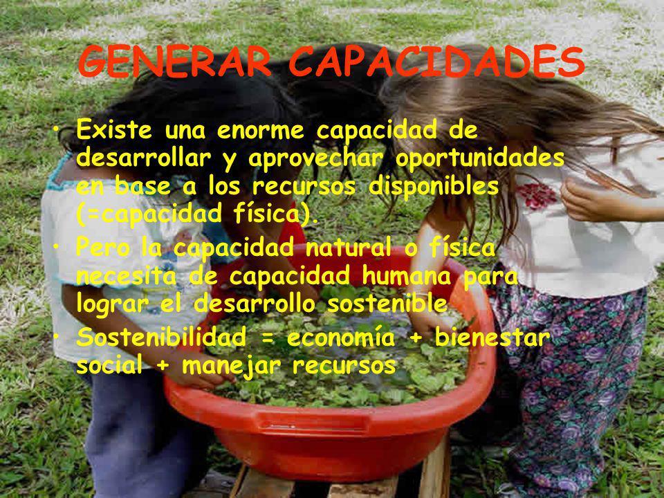 GENERAR CAPACIDADES Existe una enorme capacidad de desarrollar y aprovechar oportunidades en base a los recursos disponibles (=capacidad física).