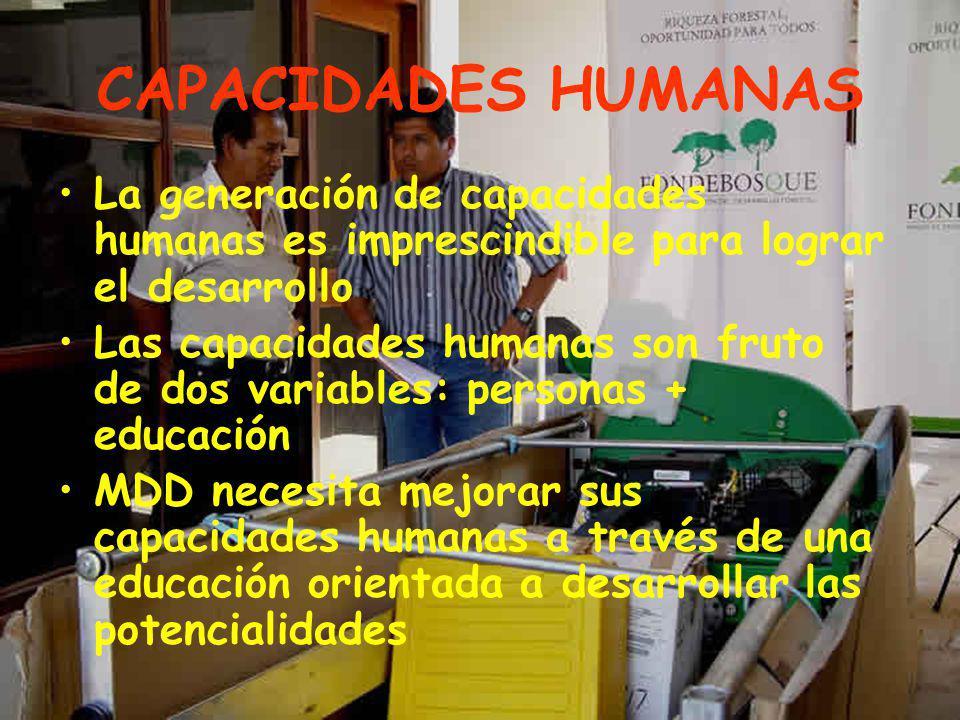 CAPACIDADES HUMANAS La generación de capacidades humanas es imprescindible para lograr el desarrollo.