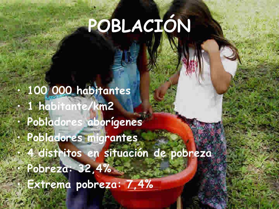 POBLACIÓN 100 000 habitantes 1 habitante/km2 Pobladores aborígenes