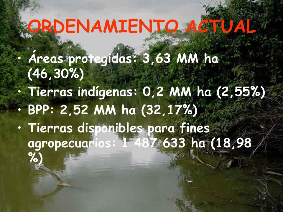 ORDENAMIENTO ACTUAL Áreas protegidas: 3,63 MM ha (46,30%)
