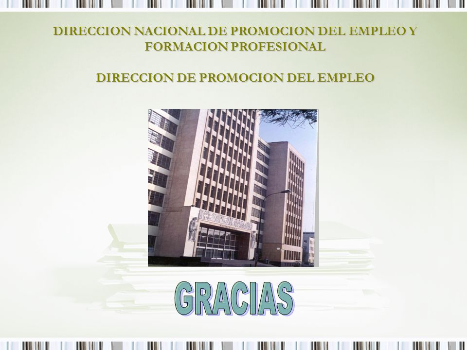 DIRECCION NACIONAL DE PROMOCION DEL EMPLEO Y FORMACION PROFESIONAL