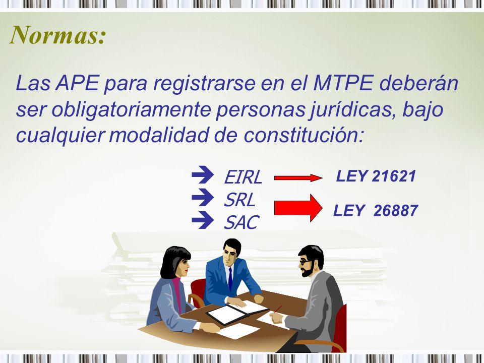 Normas: Las APE para registrarse en el MTPE deberán ser obligatoriamente personas jurídicas, bajo cualquier modalidad de constitución: