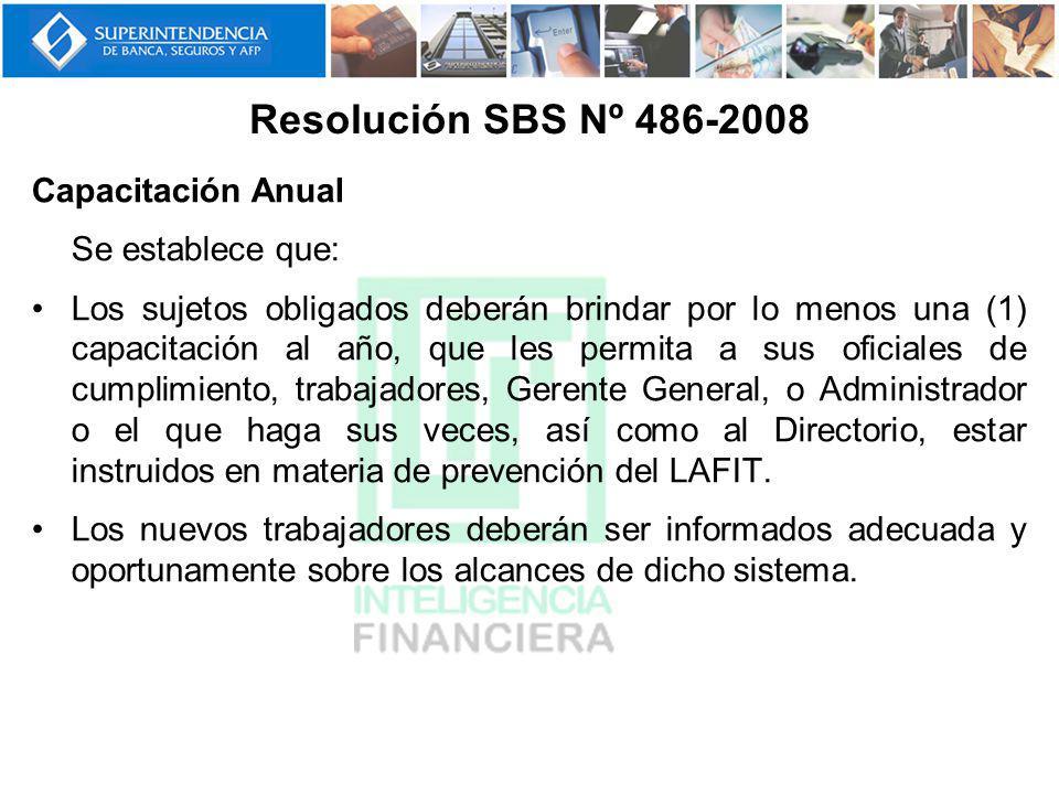 Resolución SBS Nº 486-2008 Capacitación Anual